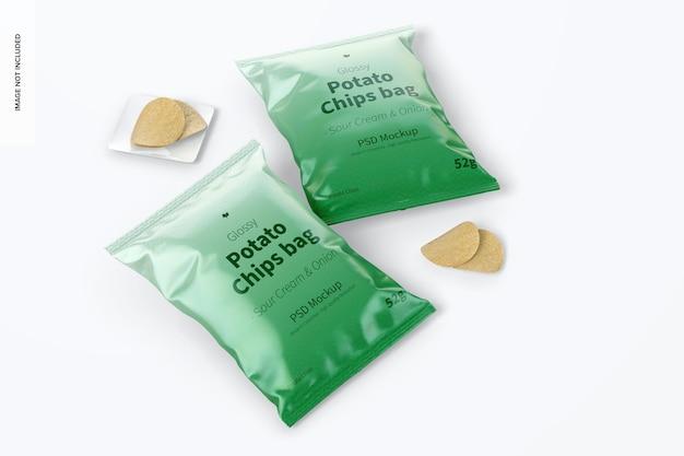 Mockup di sacchetto di patatine lucido