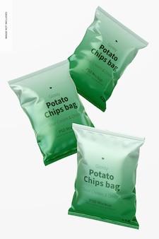 Mockup di sacchetti di patatine lucidi