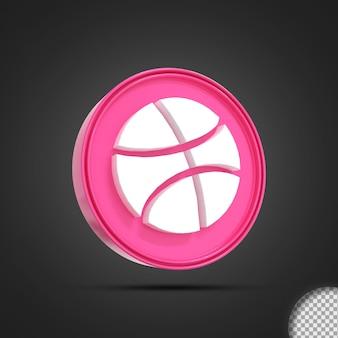 Rendering 3d dell'icona logo social media dribbling lucido