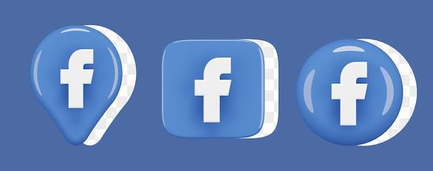 Set di icone lucide di facebook