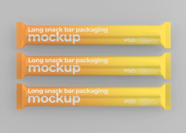 Mockup di snack bar lungo lucido isolato