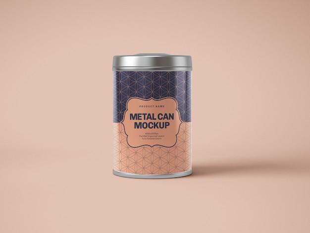 Mockup di scatola di latta in metallo lucido