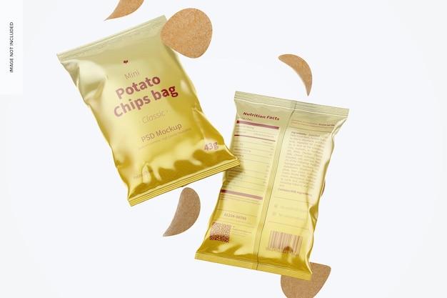 Mockup di sacchetti di patatine mini lucidi