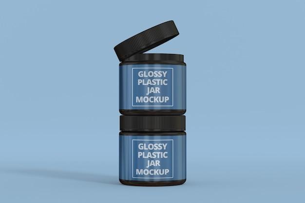 Modello di barattolo di plastica lucida plastic