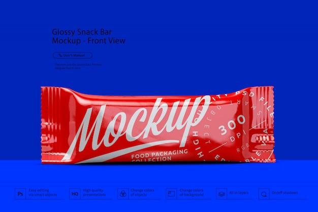 Vista frontale del mockup snack bar lucido