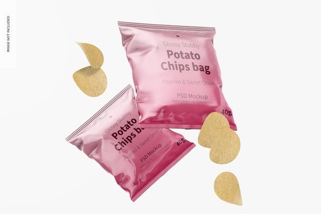 Mockup di borsa di patatine tozze lucide