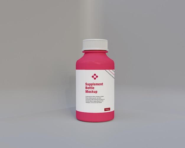 Mockup di bottiglia di medicina integratore lucido 3d