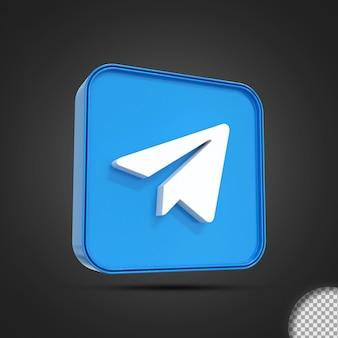 Rendering 3d dell'icona del logo dei social media di telegram lucido