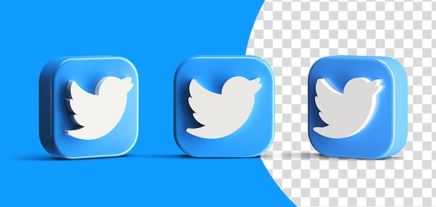 Lucido twitter pulsante social media logo icon set 3d render scena creatore isolato