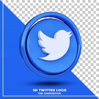 Logo twitter lucido isolato rendering 3d design