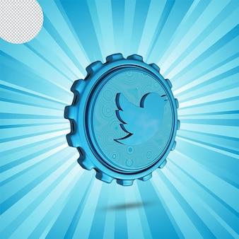Logo lucido di twitter isolato design 3d
