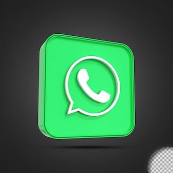 Rendering 3d lucido dell'icona del logo dei social media di whatsapp