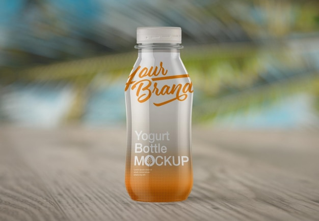 Progettazione di mockup di bottiglia di yogurt lucido
