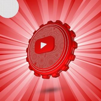 Logo lucido di youtube isolato design 3d
