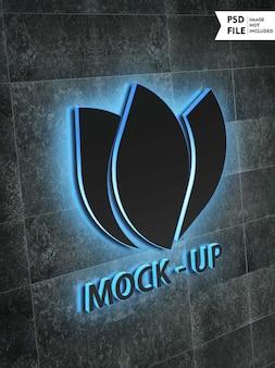 Mockup logo tridimensionale incandescente