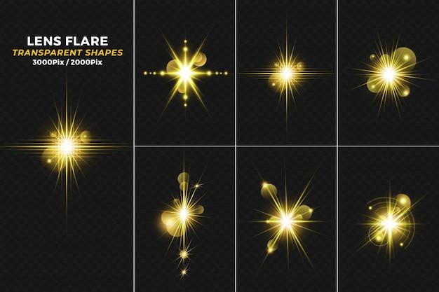 Riflesso di lente di luce dorata incandescente con sfondo di scintillii