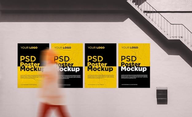 Design mockup poster incollato e sgualcito