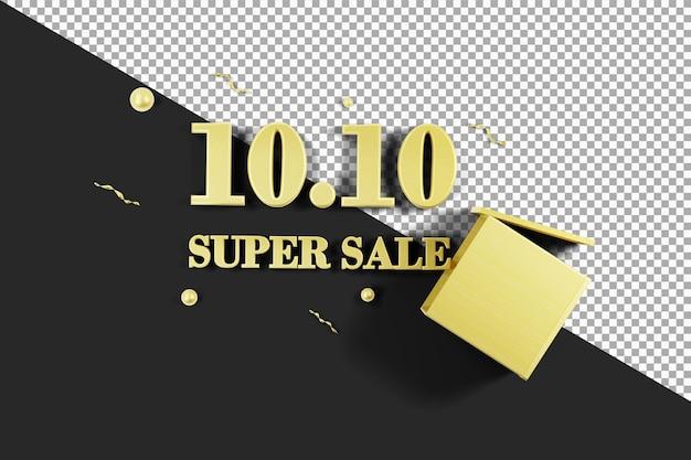 Oro 10 10 super vendita con scatola 3d rendering isolato