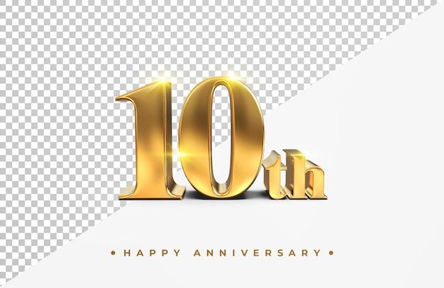 Oro 10 ° anniversario felice rendering 3d isolato