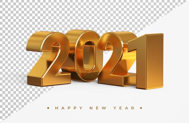 Rendering 3d del nuovo anno 2021 dell'oro isolato Psd Premium