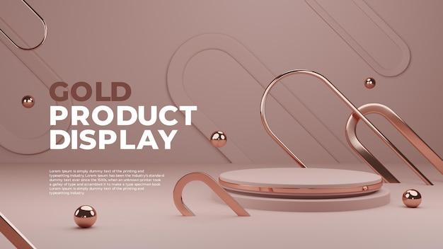Visualizzazione prodotto gold podium 3d Psd Premium