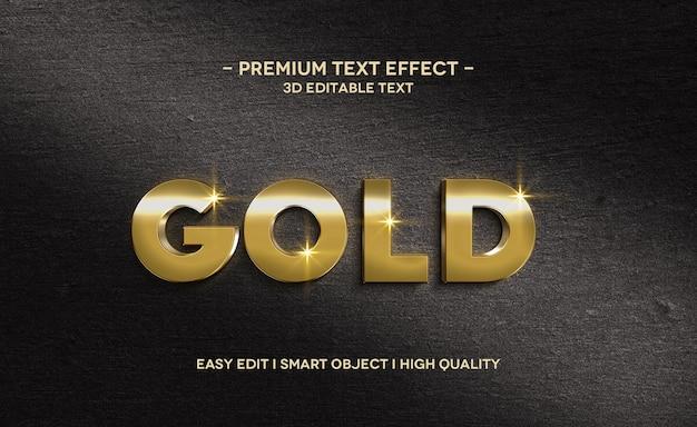 Modello di effetto di stile di testo 3d oro