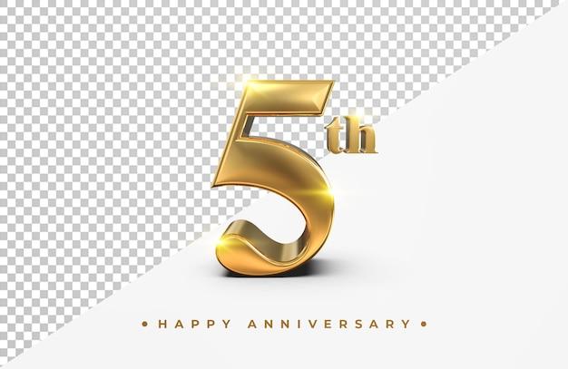 Oro 5 ° anniversario felice rendering 3d isolato