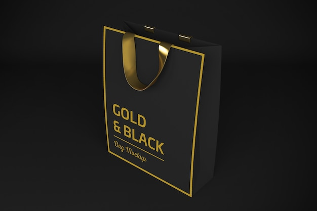 Rendering 3d gold & black bag