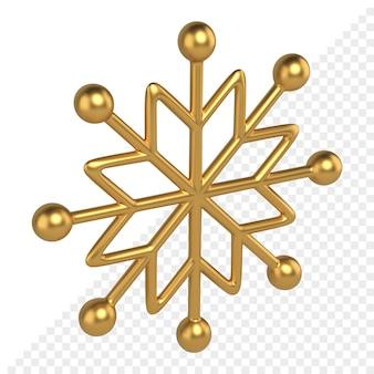 Il fiocco di neve di natale dell'oro 3d rende. trafori con raggi da sfere di metallo. decorazioni natalizie con stelle e ornamento festivo. regali d'élite della decorazione di celebrazione per il nuovo anno.