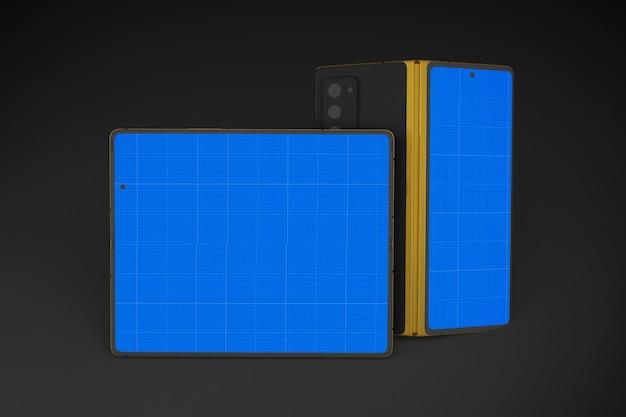Mockup di cellulari in oro e scuro