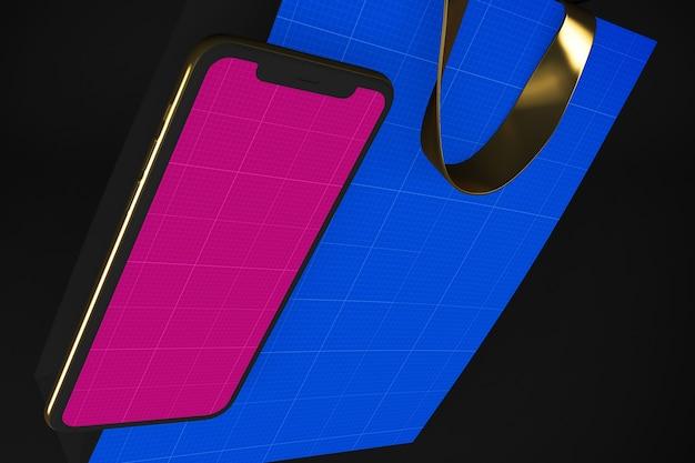 Mockup dell'app per lo shopping oro e scuro