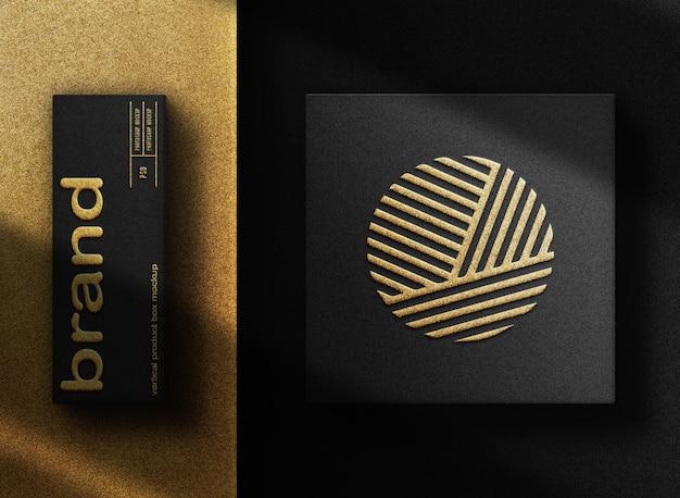 Scatola mockup con logo in rilievo in oro