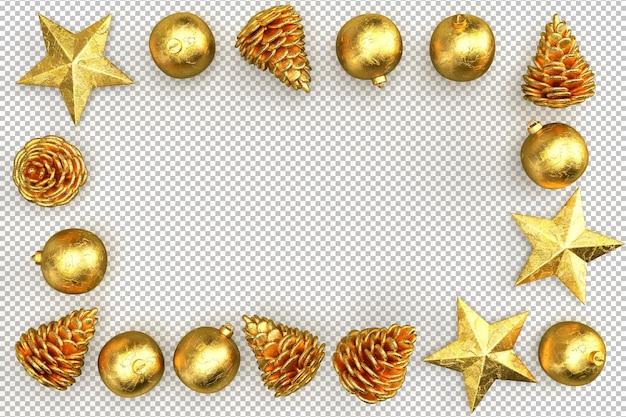 Cornice natalizia dorata realizzata con elementi decorativi. rendering 3d
