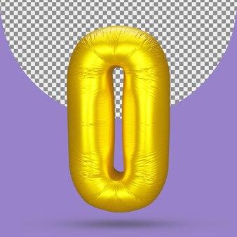 Palloncino in lamina d'oro con numero 0 realistico