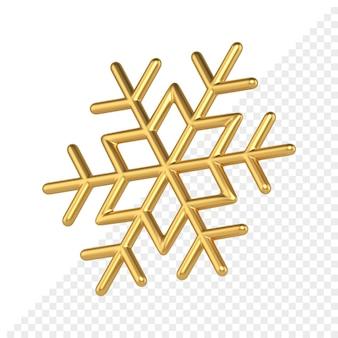 Il fiocco di neve geometrico dell'oro 3d rende. decorazione natalizia in metallo prezioso. ornamento a forma di stella con intrecci lineari. elemento creativo di interni e umore di felice anno nuovo.