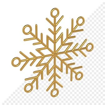 Fiocco di neve geometrico oro 3d render