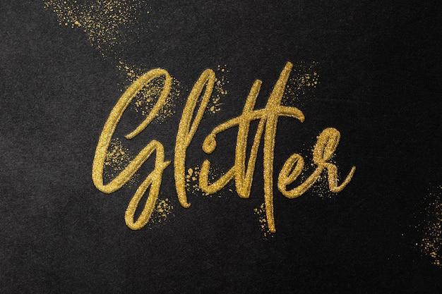 Modello di effetto testo glitter oro