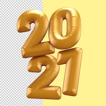 Oro felice anno nuovo numero 2021 ballons rendering 3d isolato