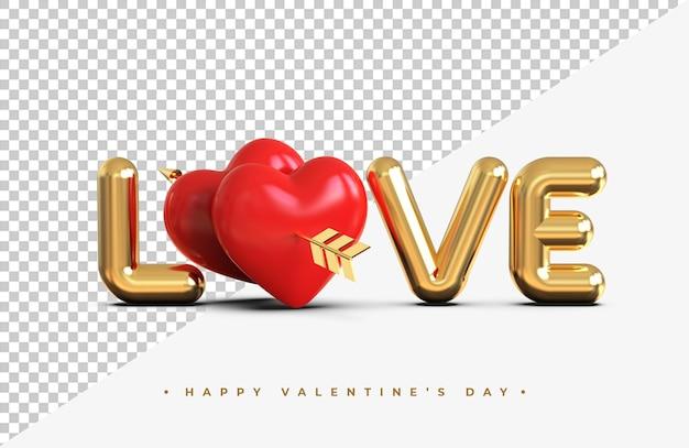 Iscrizione di amore dell'oro con cuori rossi con una freccia del rendering 3d di cupido isolato