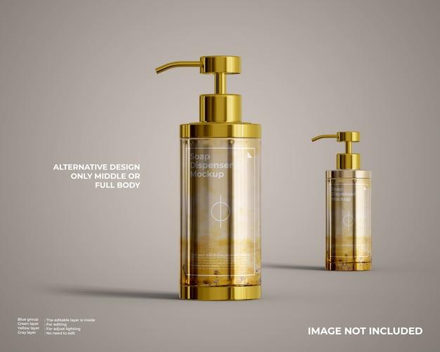 Mockup di bottiglia rotonda con dispenser di sapone in metallo dorato