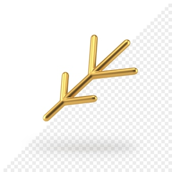 Il ramoscello realistico di natale minimalista dell'oro 3d rende
