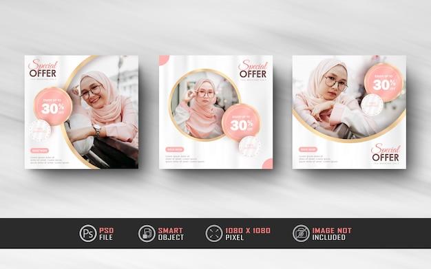 Banner di feed post social media instagram rosa oro per la vendita di moda hijab