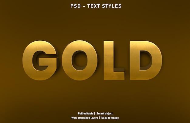 Modello di stile di effetti di testo d'oro