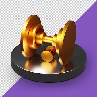 Priorità bassa alfa dell'icona della palestra 3d dorata psd