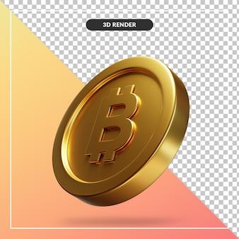 Golden bitcoin coin 3d visual isolato