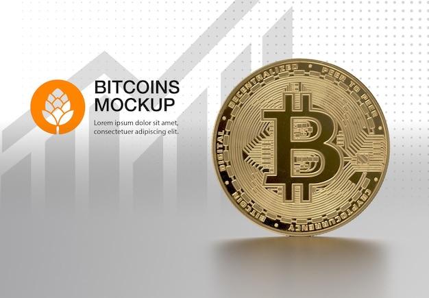 Mockup di bitcoin d'oro