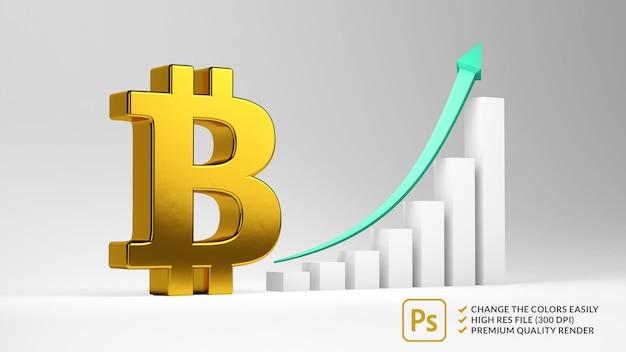 Simbolo dorato di bitcoin con una barra ascendente nel rendering 3d