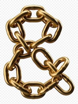 Alfabeto catena d'oro e commerciale segno isolato