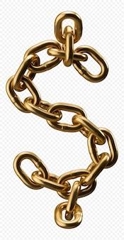 Alfabeto catena d'oro simbolo del dollaro isolato