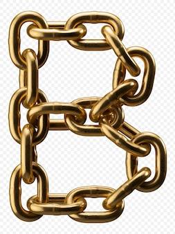 Golden catena alfabeto lettera b isolato su trasparente, 3d'illustrazione